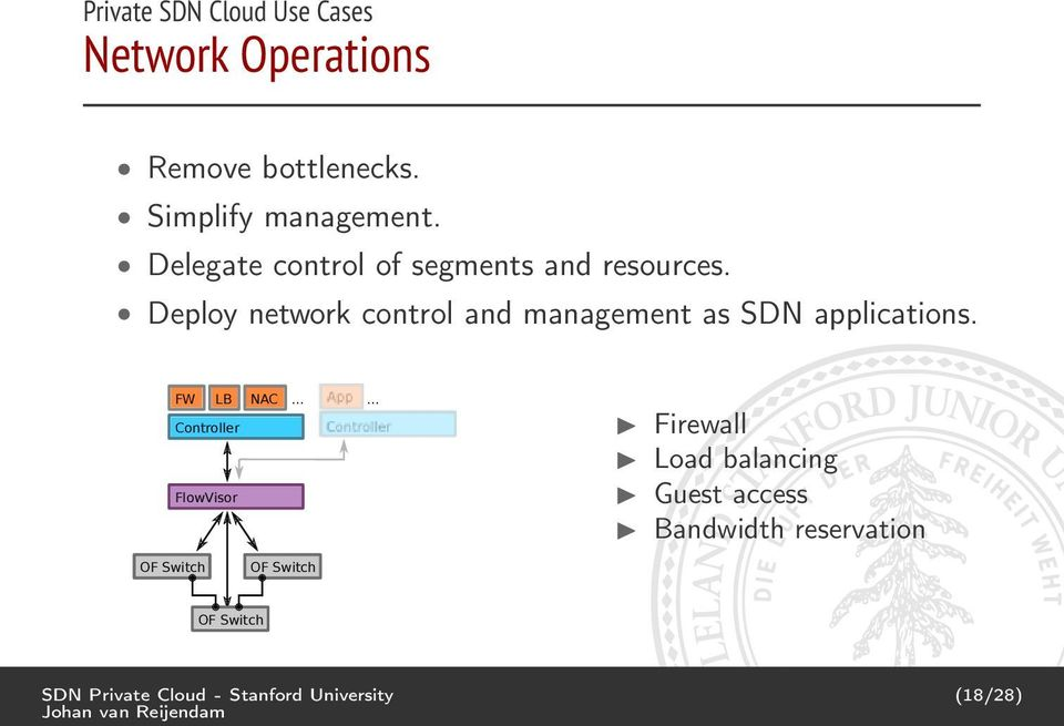 Deploy network control and management as SDN applications. FW LB NAC... Controller FlowVisor.