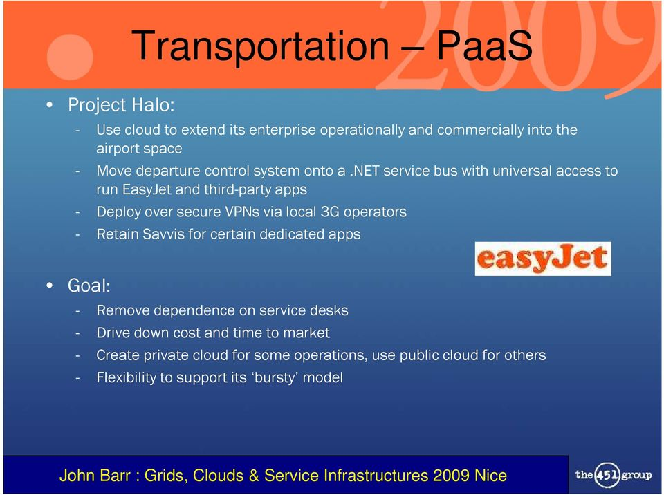 net service bus with universal access to run EasyJet and third-party apps - Deploy over secure VPNs via local 3G operators -