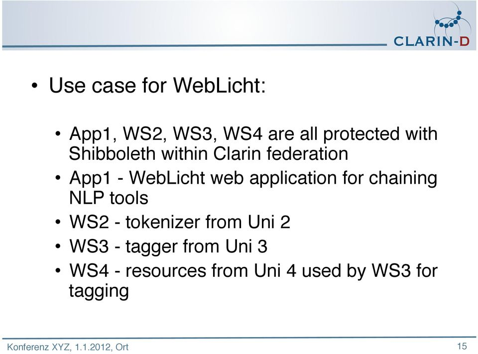 application for chaining NLP tools WS2 - tokenizer from Uni 2 WS3
