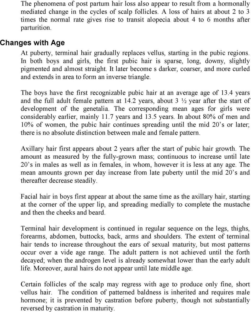 Changes with Age At puberty, terminal hair gradually replaces vellus, starting in the pubic regions.
