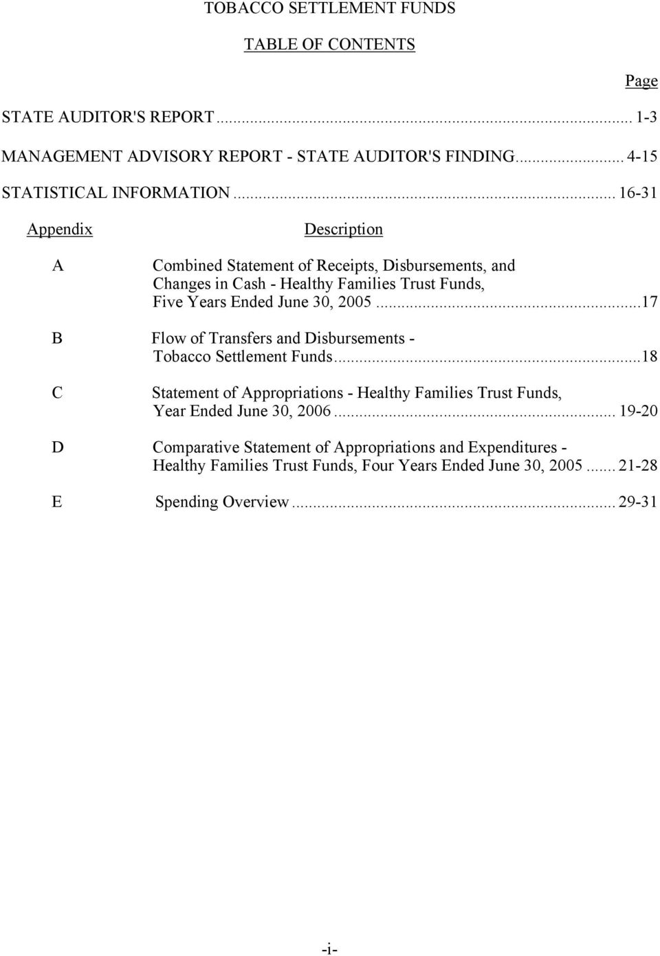 ..17 B Flow of Transfers and Disbursements - Tobacco Settlement Funds...18 C Statement of Appropriations - Healthy Families Trust Funds, Year Ended June 30, 2006.