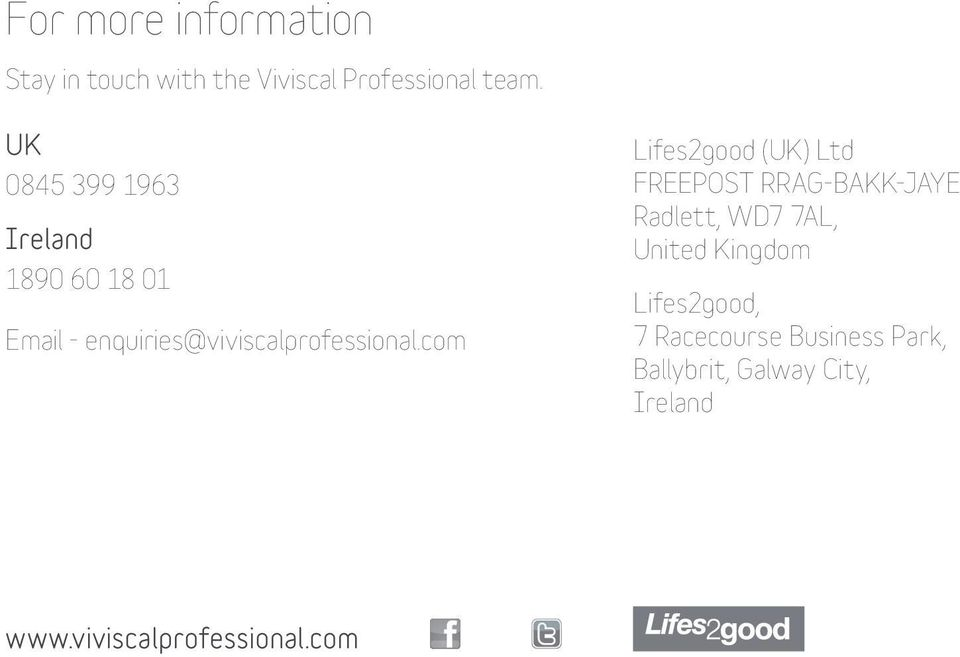com Lifes2good (UK) Ltd FREEPOST RRAG-BAKK-JAYE Radlett, WD7 7AL, United Kingdom
