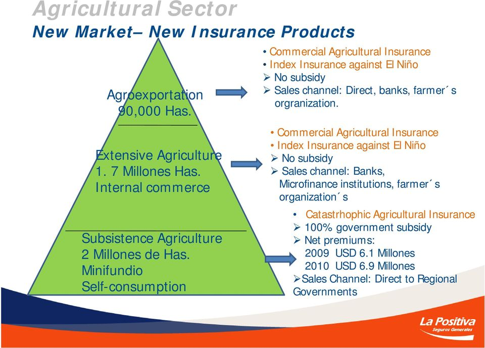 Minifundio Self-consumption Commercial Agricultural Insurance Index Insurance against El Niño No subsidy Sales channel: Direct, banks, farmer s orgranization.