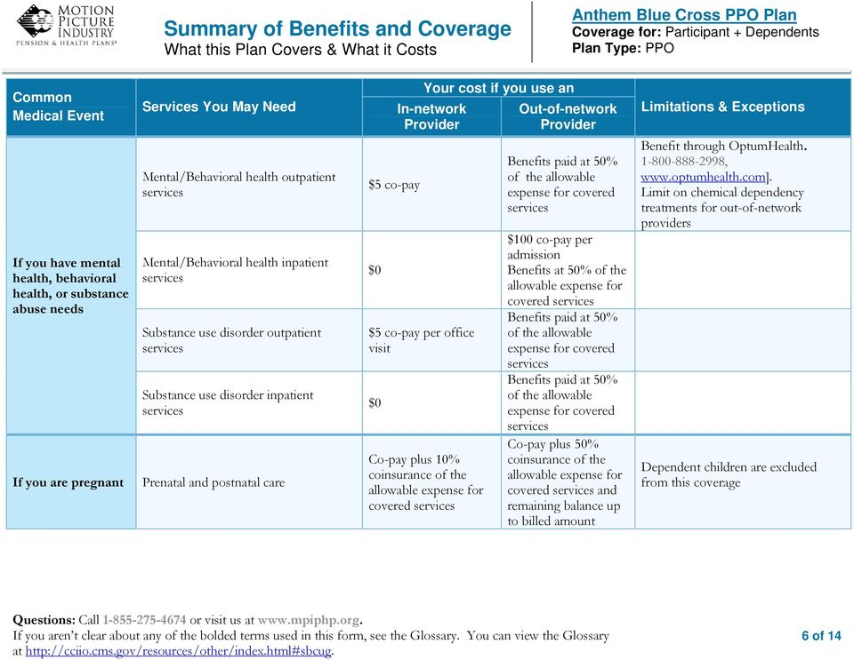 covered services $100 co-pay per admission Benefits at 50% of the Benefits paid at 50% of the allowable expense for covered services Benefits paid at 50% of the allowable expense for covered