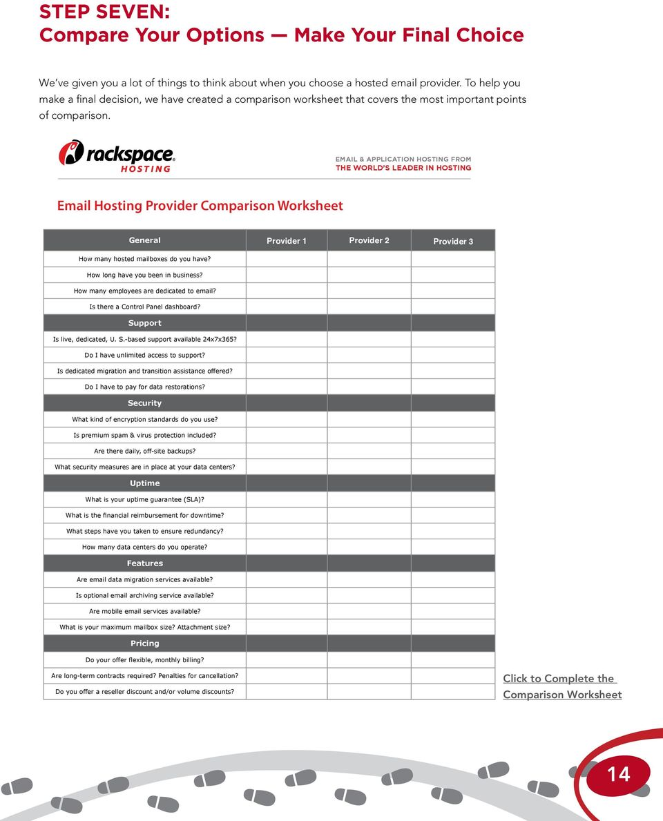 To help you make a final decision, we have created a comparison worksheet that covers the most important points of