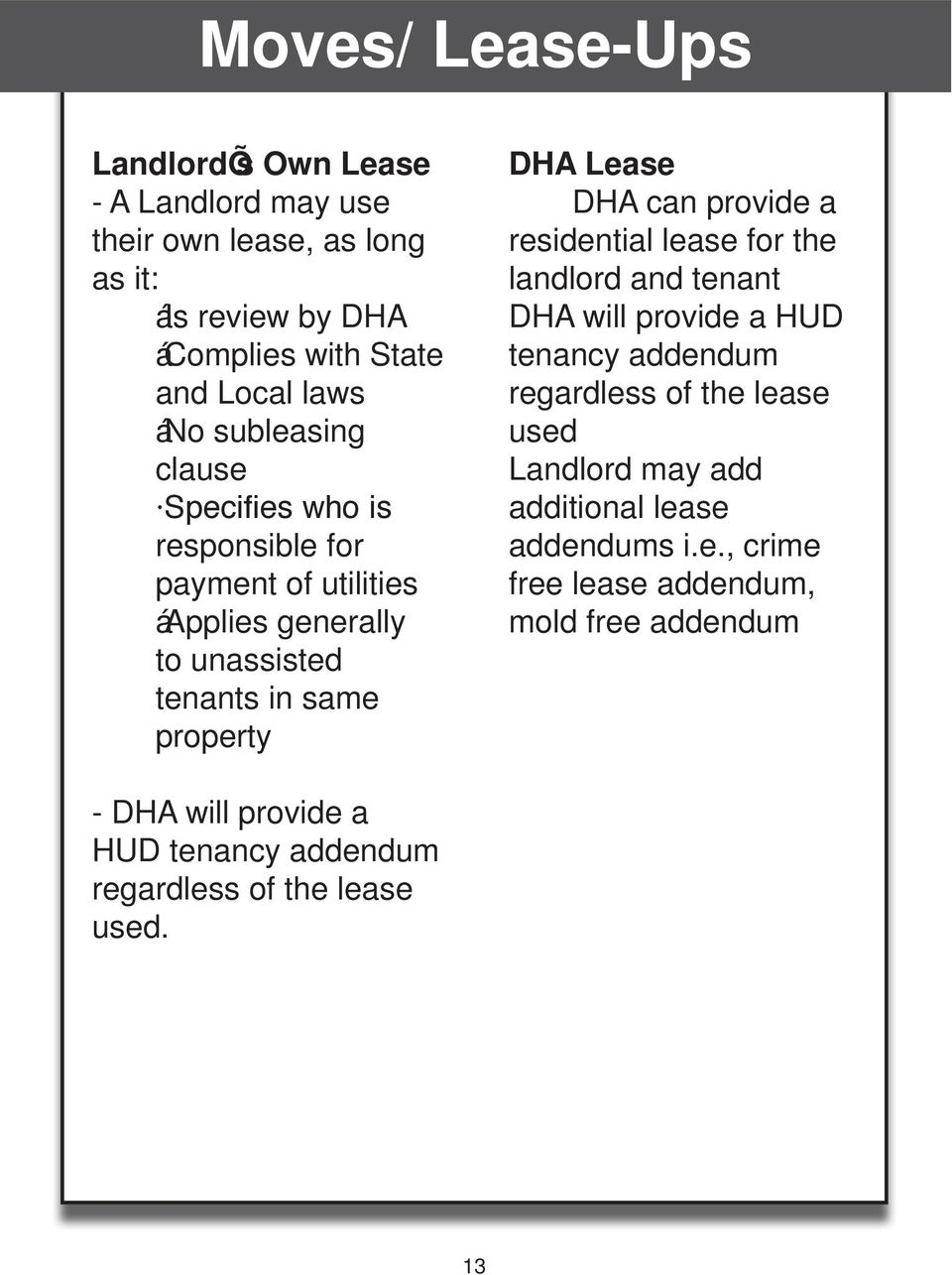 can provide a residential lease for the landlord and tenant DHA will provide a HUD tenancy addendum regardless of the lease used Landlord may add