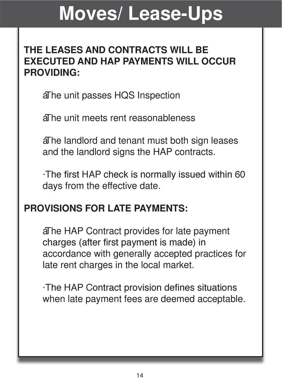 The first HAP check is normally issued within 60 days from the effective date.
