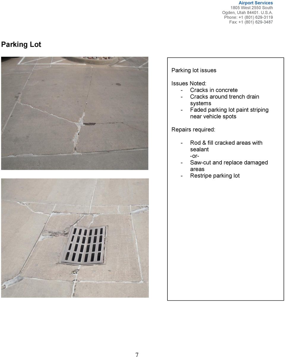 striping near vehicle spots - Rod & fill cracked areas with