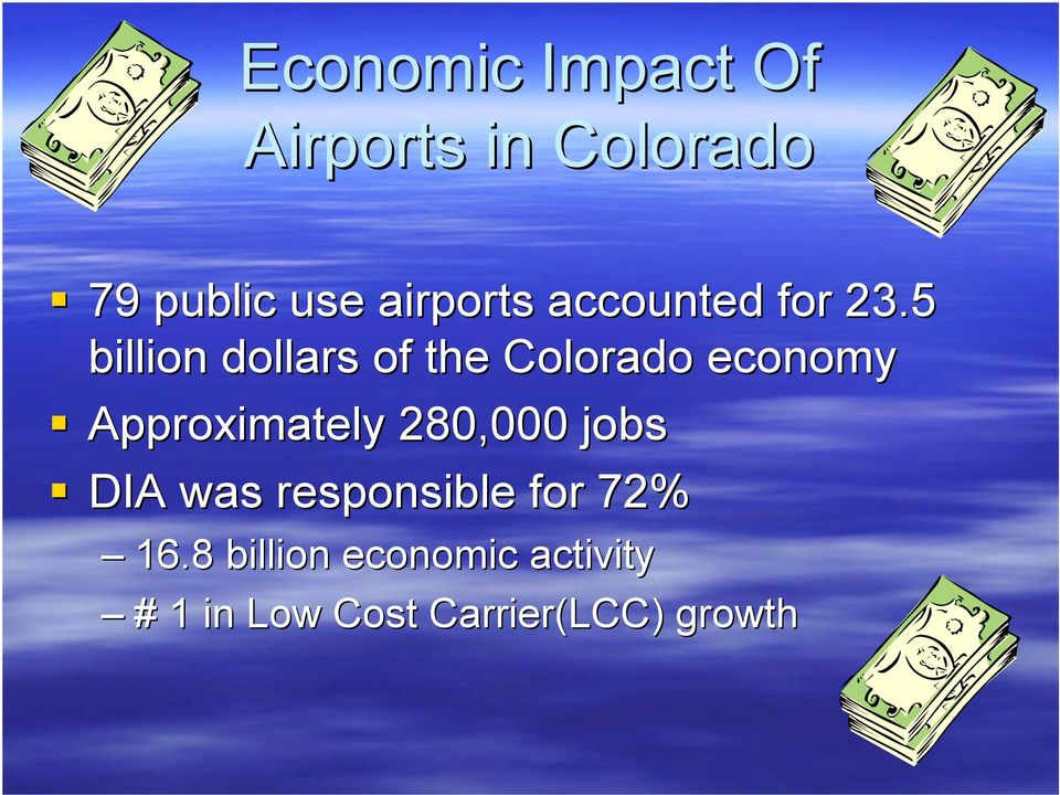 5 billion dollars of the Colorado economy Approximately