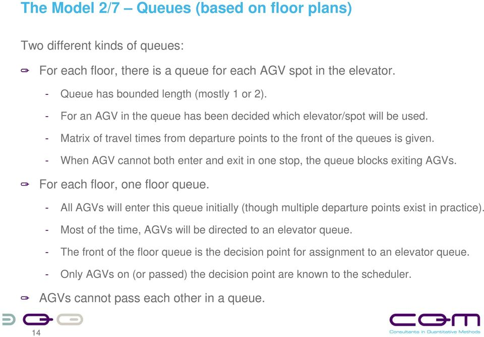 - When AGV cannot both enter and exit in one stop, the queue blocks exiting AGVs. For each floor, one floor queue.