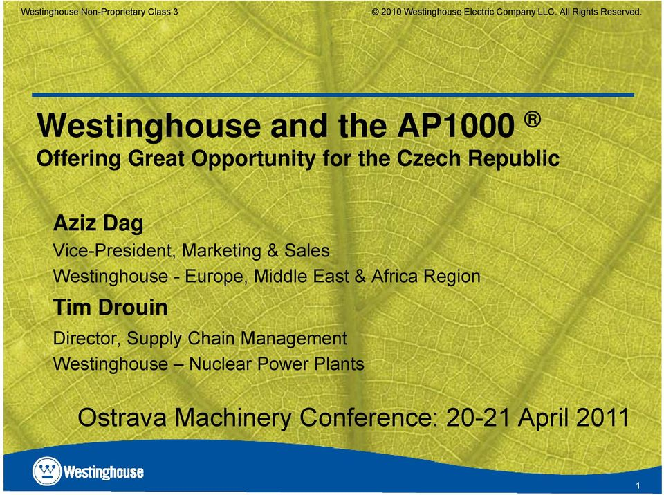 Vice-President, Marketing & Sales Westinghouse - Europe, Middle East & Africa Region Tim Drouin