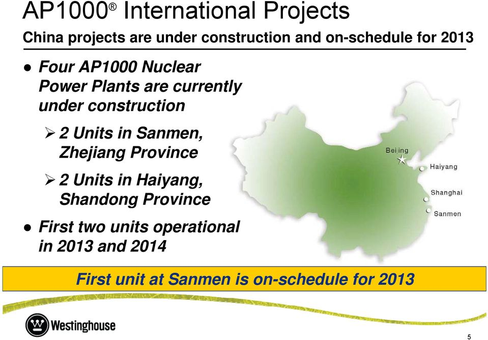 construction 2 Units in Sanmen, Zhejiang Province 2 Units in Haiyang, Shandong