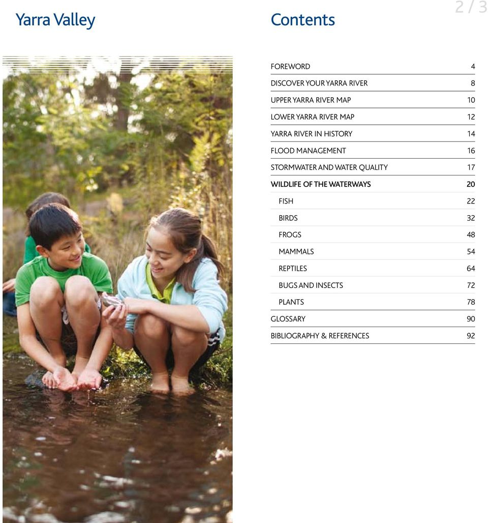 Stormwater and water quality 17 Wildlife of the waterways 20 FisH 22 Birds 32 Frogs