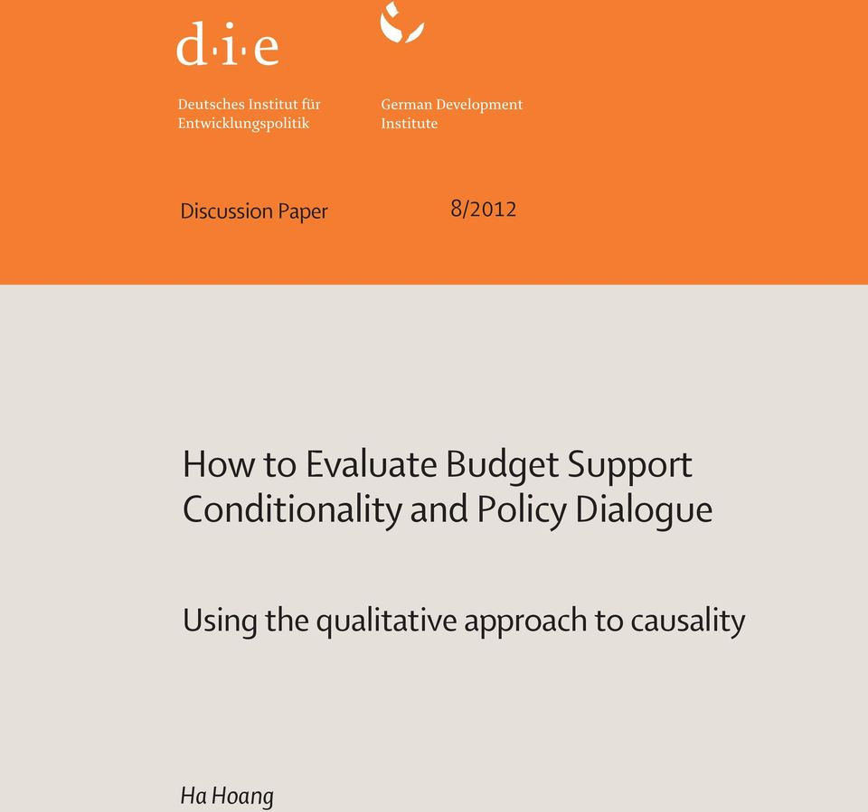 Conditionality and Policy Dialogue