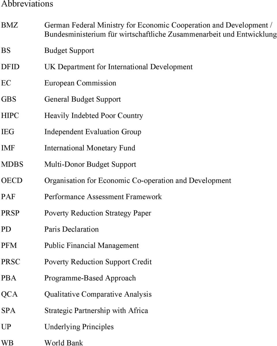 Evaluation Group International Monetary Fund Multi-Donor Budget Support Organisation for Economic Co-operation and Development Performance Assessment Framework Poverty Reduction Strategy Paper