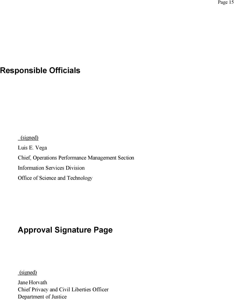 Services Division Office of Science and Technology Approval