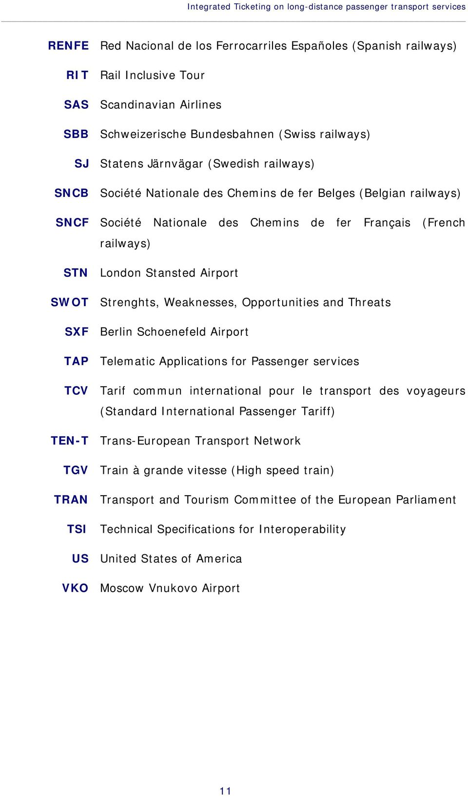 Français (French railways) STN London Stansted Airport SWOT Strenghts, Weaknesses, Opportunities and Threats SXF Berlin Schoenefeld Airport TAP Telematic Applications for Passenger services TCV Tarif