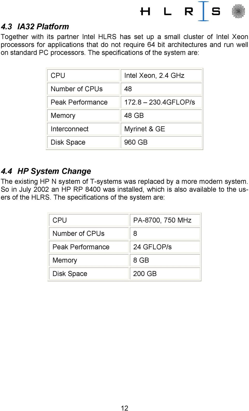 4GFLOP/s 48 GB Myrinet & GE 960 GB 4.4 HP System Change The existing HP N system of T-systems was replaced by a more modern system.