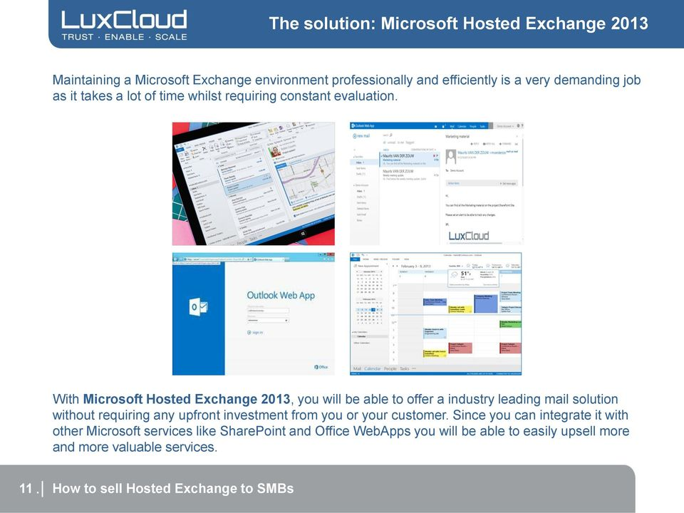 With Microsoft Hosted Exchange 2013, you will be able to offer a industry leading mail solution without requiring any upfront investment from