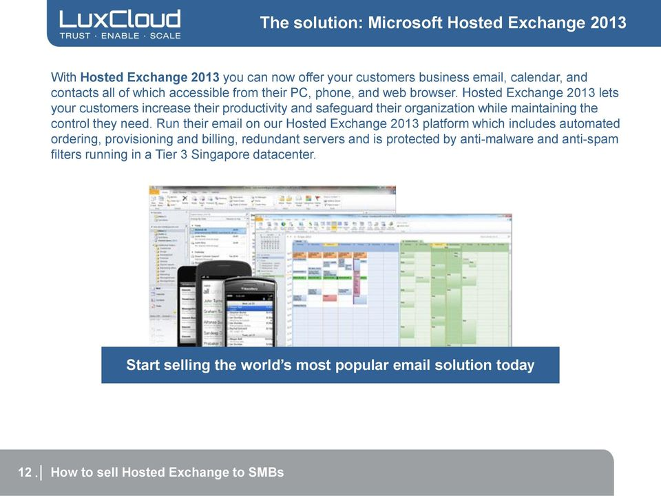 Hosted Exchange 2013 lets your customers increase their productivity and safeguard their organization while maintaining the control they need.