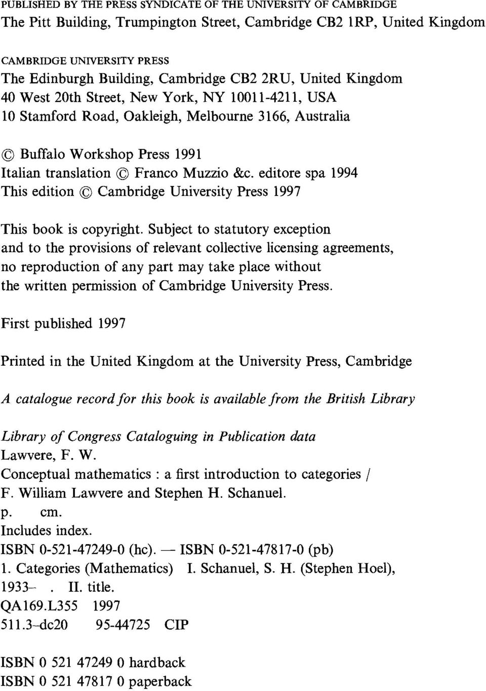 editore spa 1994 This edition C Cambridge University Press 1997 This book is copyright.