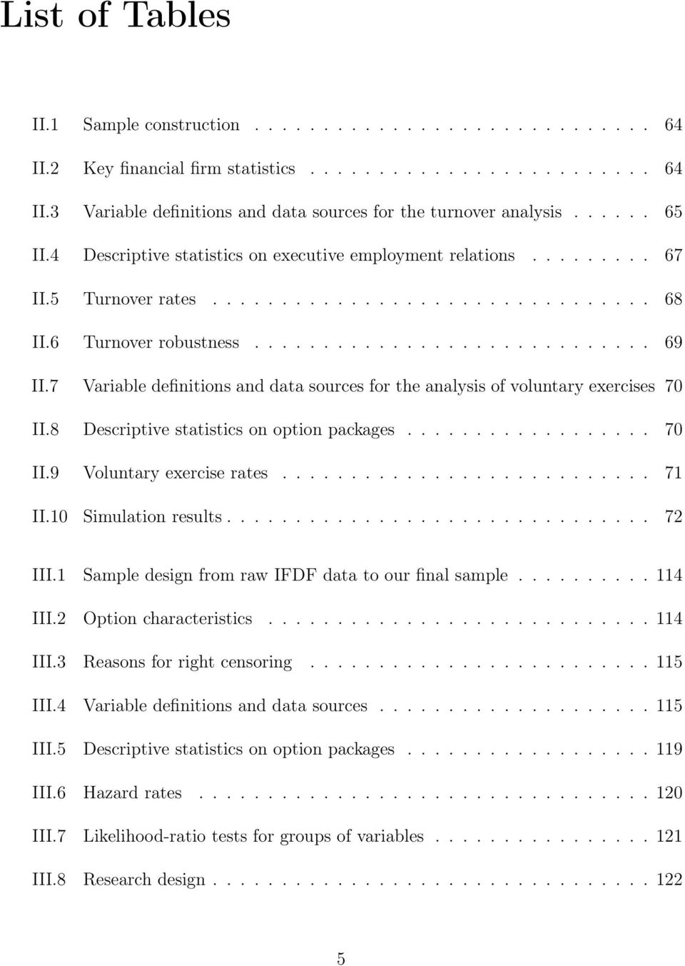 7 Variable definitions and data sources for the analysis of voluntary exercises 70 II.8 Descriptive statistics on option packages.................. 70 II.9 Voluntary exercise rates........................... 71 II.
