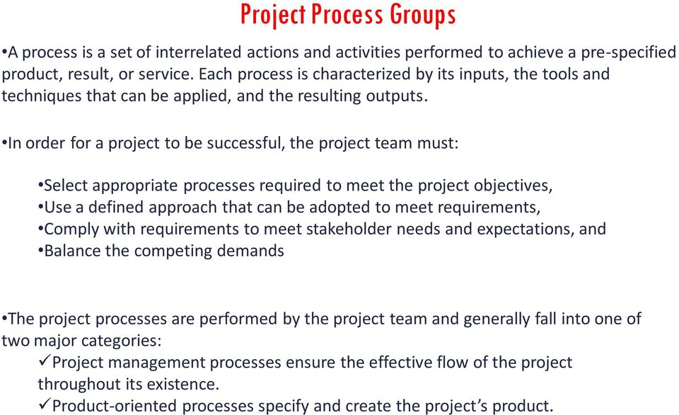 In order for a project to be successful, the project team must: Select appropriate processes required to meet the project objectives, Use a defined approach that can be adopted to meet requirements,