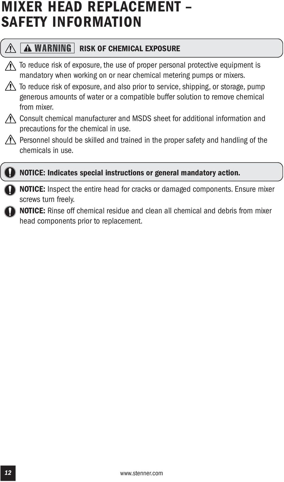 Consult chemical manufacturer and MSDS sheet for additional information and precautions for the chemical in use.