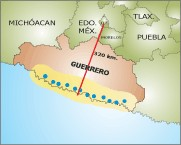 stations on the coast of Guerrero to estimate the prognosis of the extent of local seismic activity and sent by radio to the central station of record in the Federal District.