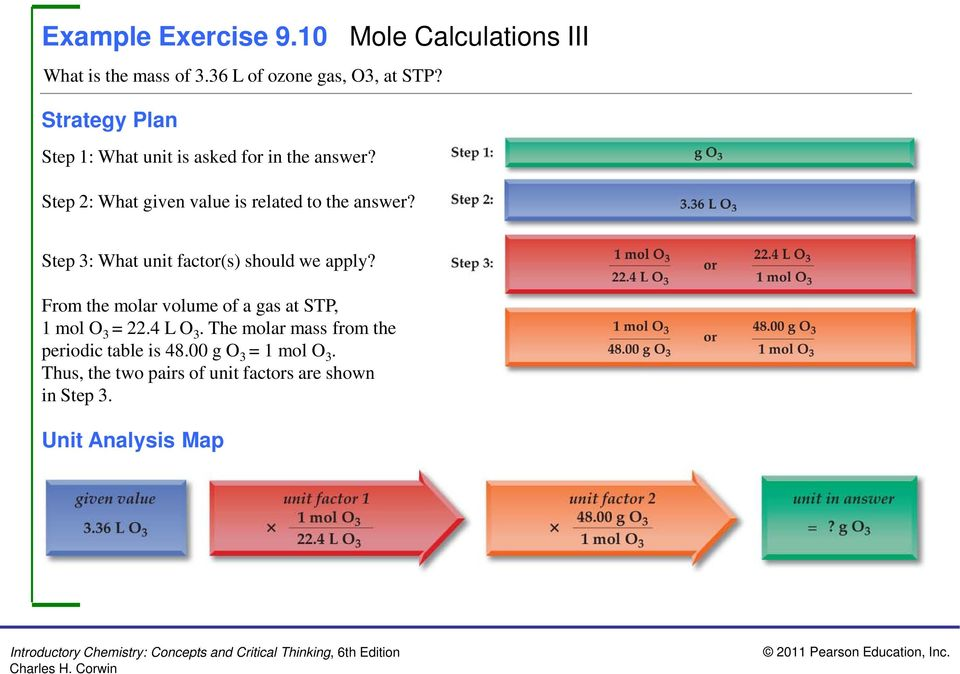 Step 3: What unit factor(s) should we apply? From the molar volume of a gas at STP, 1 mol O 3 = 22.4 L O 3.
