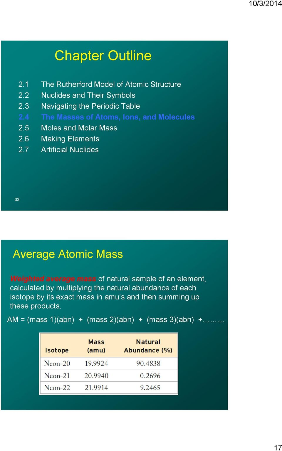 7 Artificial Nuclides 33 Average Atomic Mass Weighted average mass of natural sample of an element, calculated by