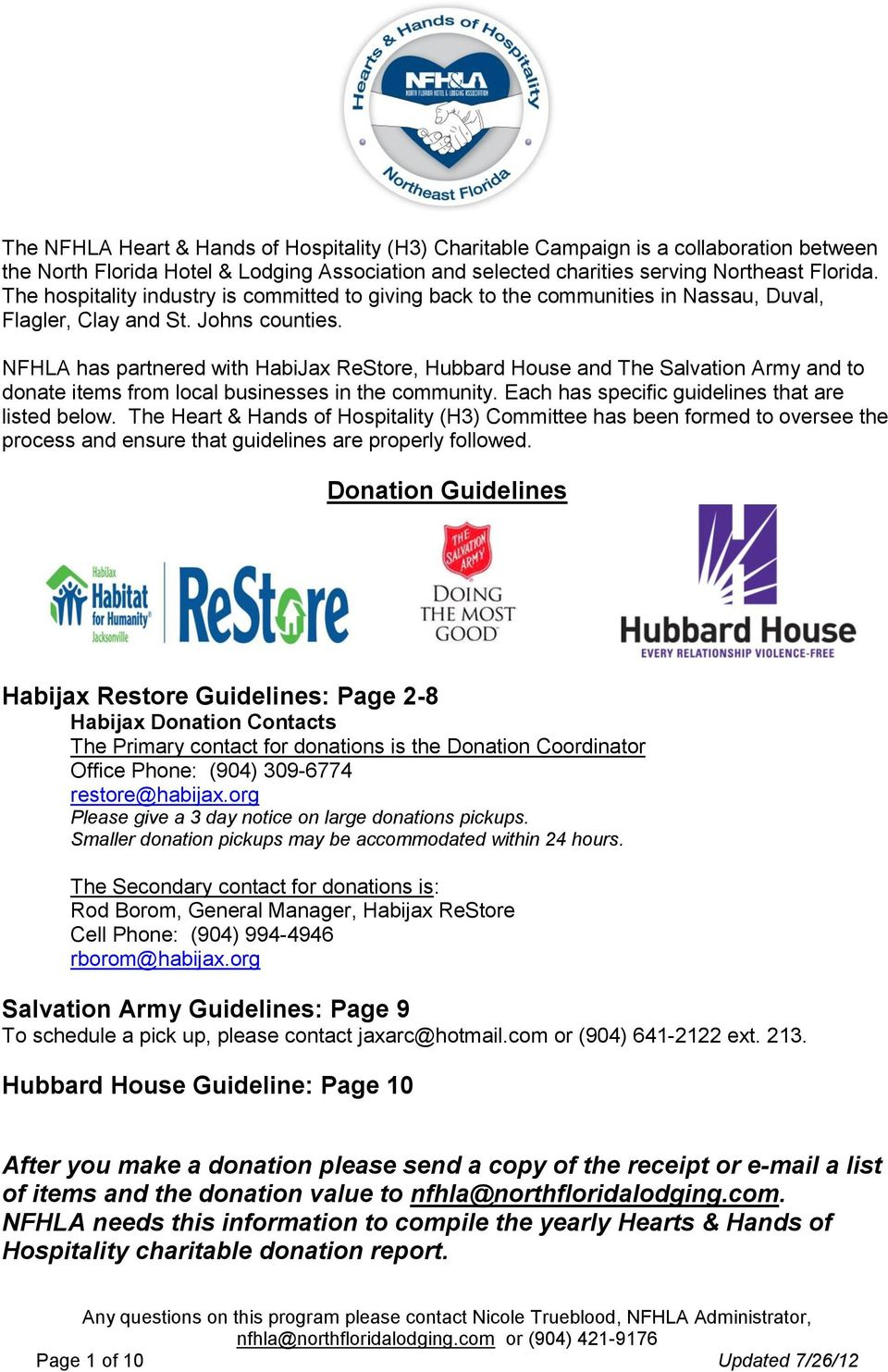 NFHLA has partnered with HabiJax ReStore, Hubbard House and The Salvation Army and to donate items from local businesses in the community. Each has specific guidelines that are listed below.