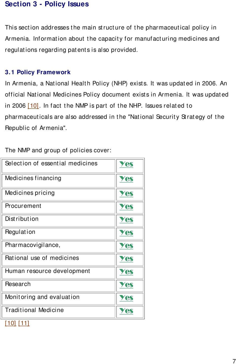 It was updated in 2006. An official National Medicines Policy document exists in Armenia. It was updated in 2006 [10]. In fact the NMP is part of the NHP.