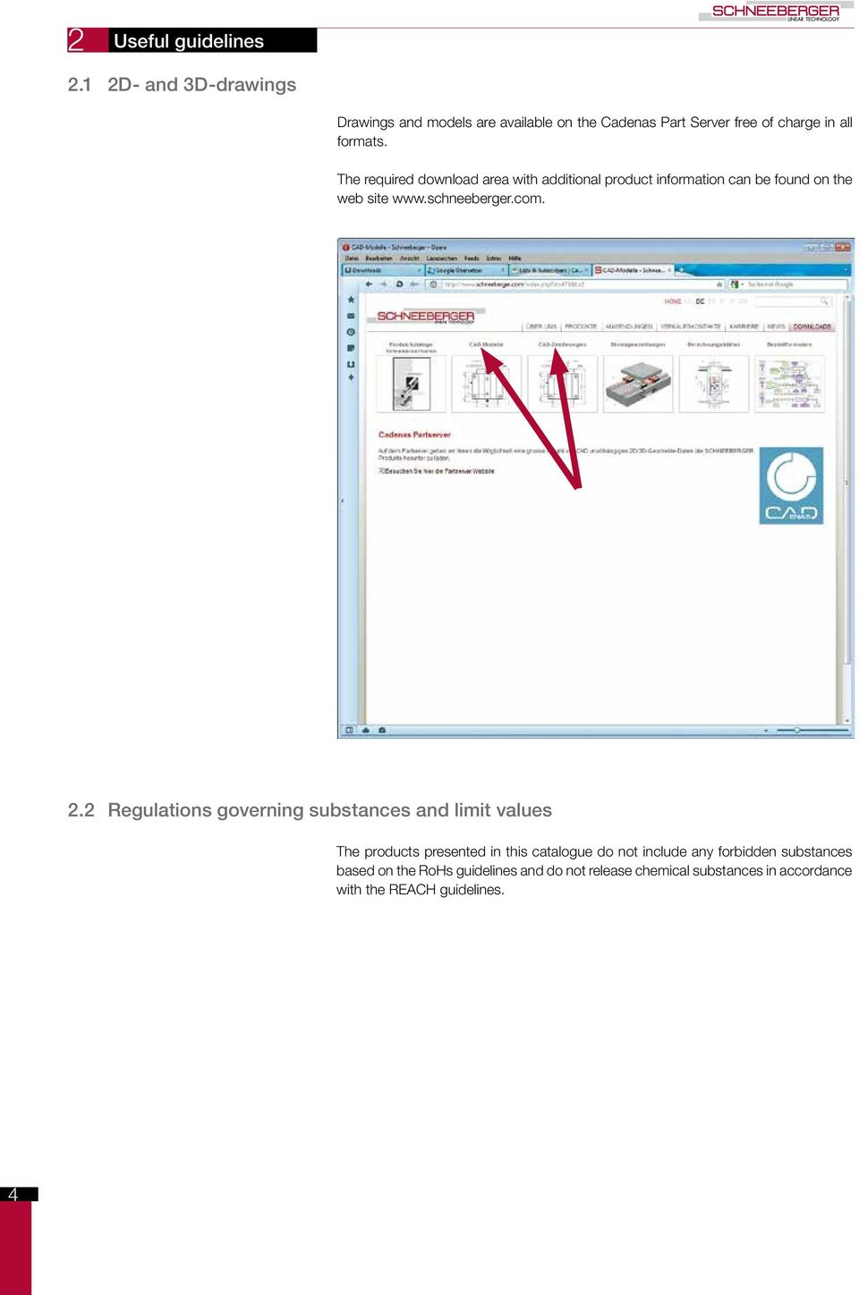 The required download area with additional product information can be found on the web site www.schneeberger.com. 2.