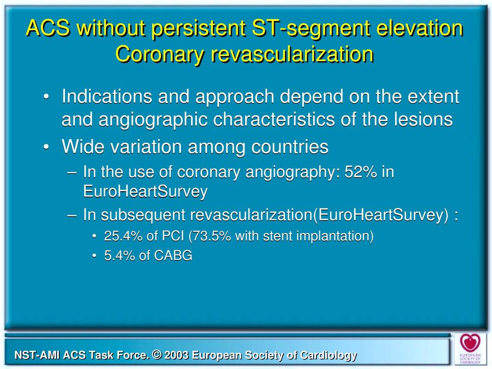 variation among countries In the use of coronary angiography: 52% in EuroHeartSurvey In