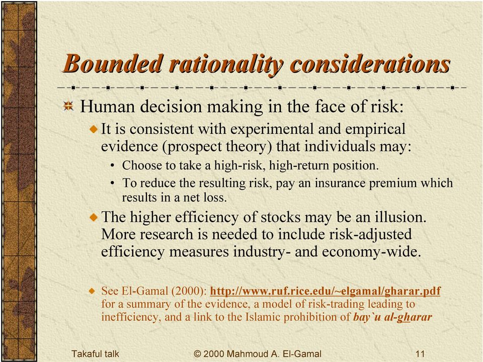 The higher efficiency of stocks may be an illusion. More research is needed to include risk-adjusted efficiency measures industry- and economy-wide.