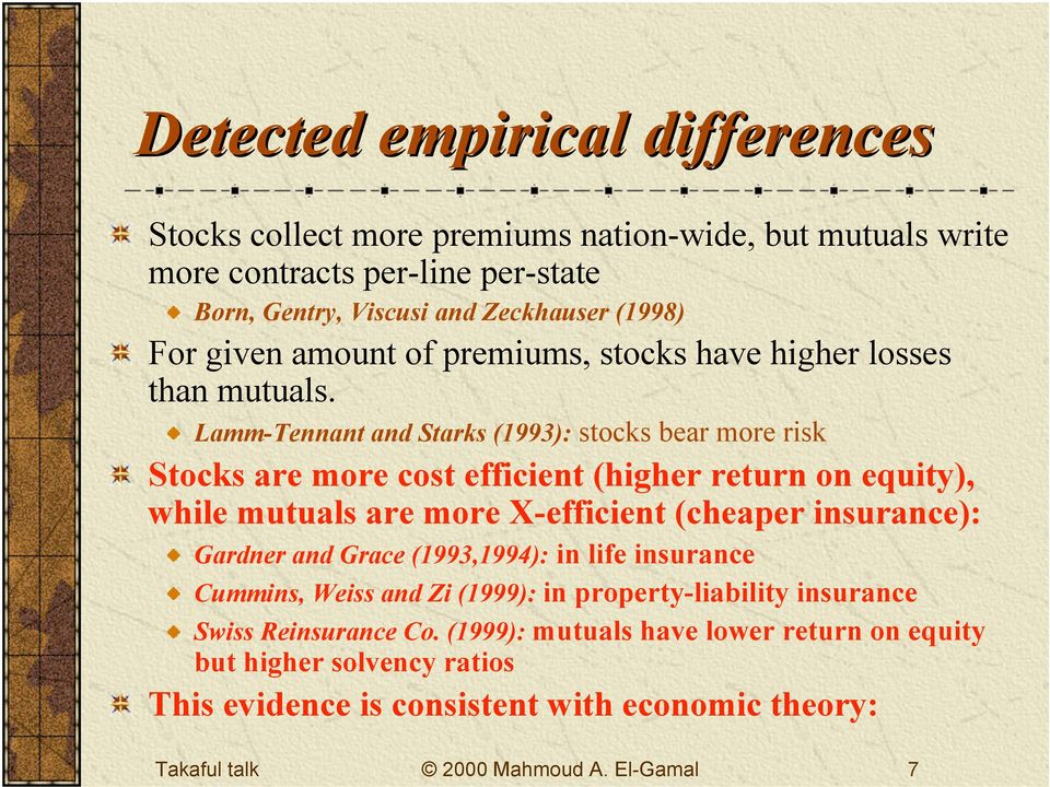 Lamm-Tennant and Starks (1993): stocks bear more risk Stocks are more cost efficient (higher return on equity), while mutuals are more X-efficient (cheaper insurance):