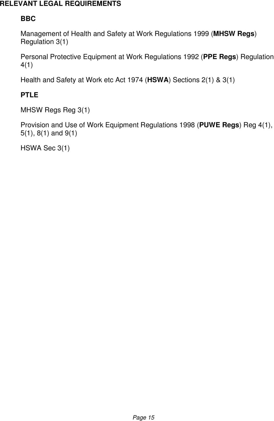 Health and Safety at Work etc Act 1974 (HSWA) Sections 2(1) & 3(1) PTLE MHSW Regs Reg 3(1) Provision