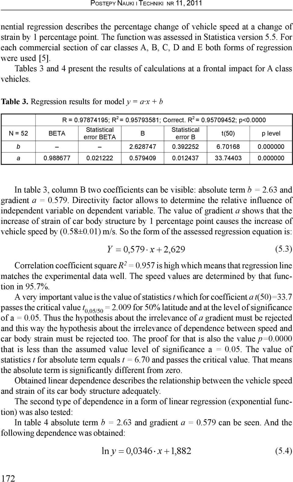 Table 3. Regression results for model y = a x + b N = 52 BETA R = 0.97874195; R 2 = 0.95793581; Correct. R 2 = 0.95709452; p<0.0000 Statistical error BETA B Statistical error B t(50) p level b 2.