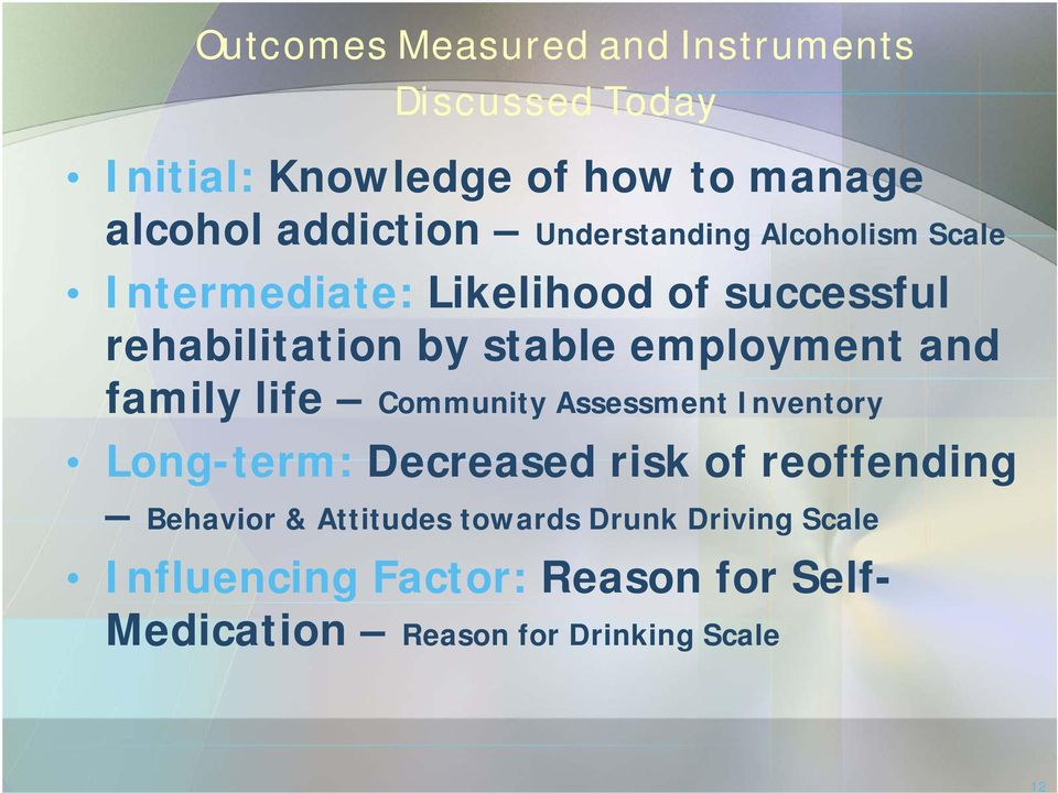 and family life Community Assessment Inventory Long-term: Decreased risk of reoffending Behavior &