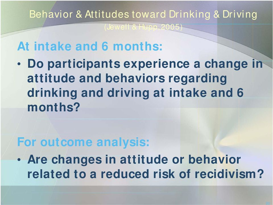 behaviors regarding drinking and driving at intake and 6 months?