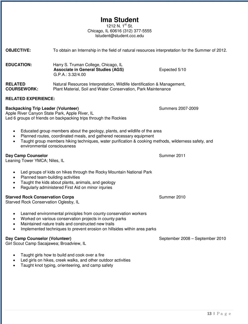 outdoor education resume objective outstanding resume format guide to resume writing job search and interview skills pdf