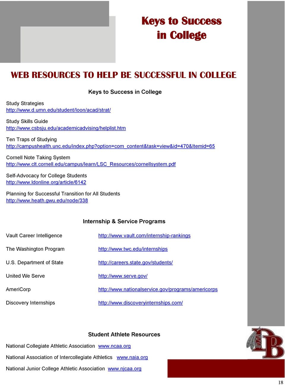 edu/campus/learn/lsc_resources/cornellsystem.pdf Self-Advocacy for College Students http://www.ldonline.org/article/6142 Planning for Successful Transition for All Students http://www.heath.gwu.