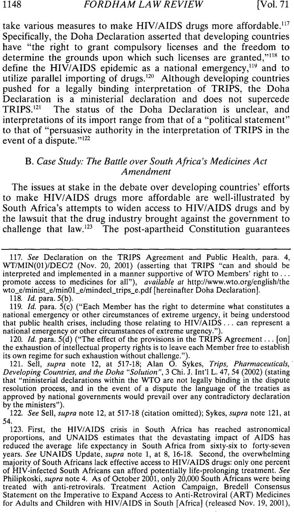 "granted,"""" 1 ' to define the HIV/AIDS epidemic as a national emergency,"" 9 and to utilize parallel importing of drugs."