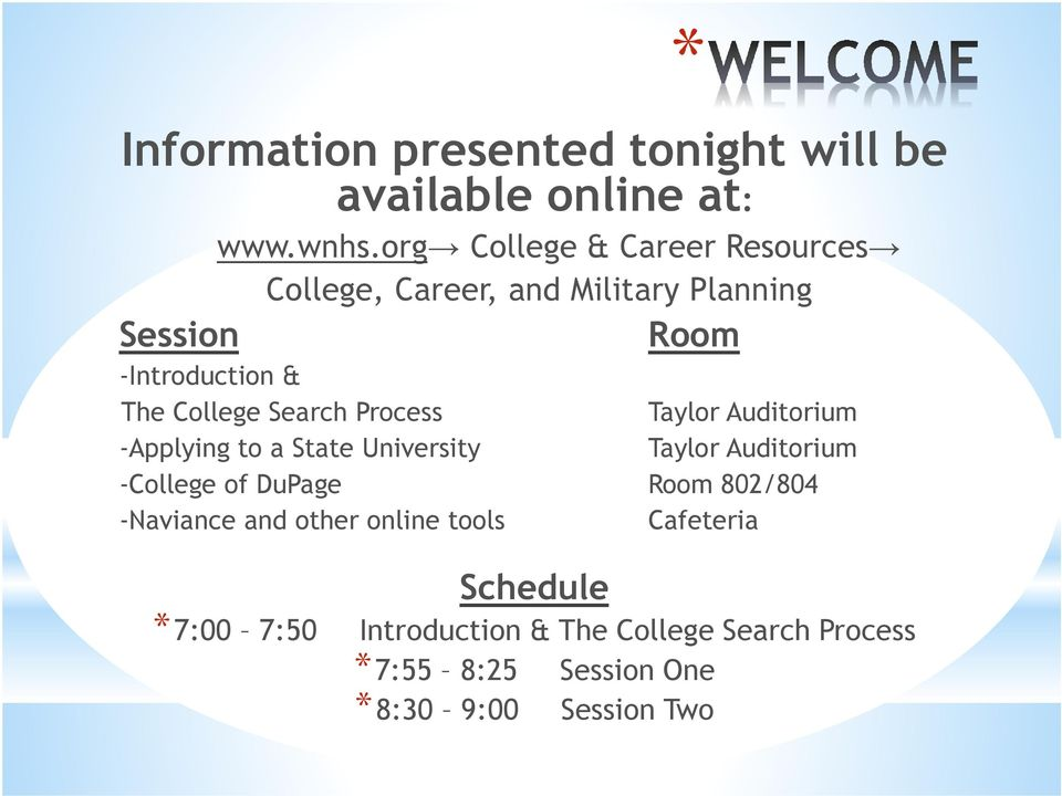 Search Process Taylor Auditorium -Applying to a State University Taylor Auditorium -College of DuPage Room