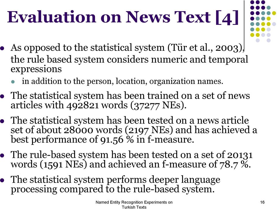The statistical system has been trained on a set of news articles with 492821 words (37277 NEs).