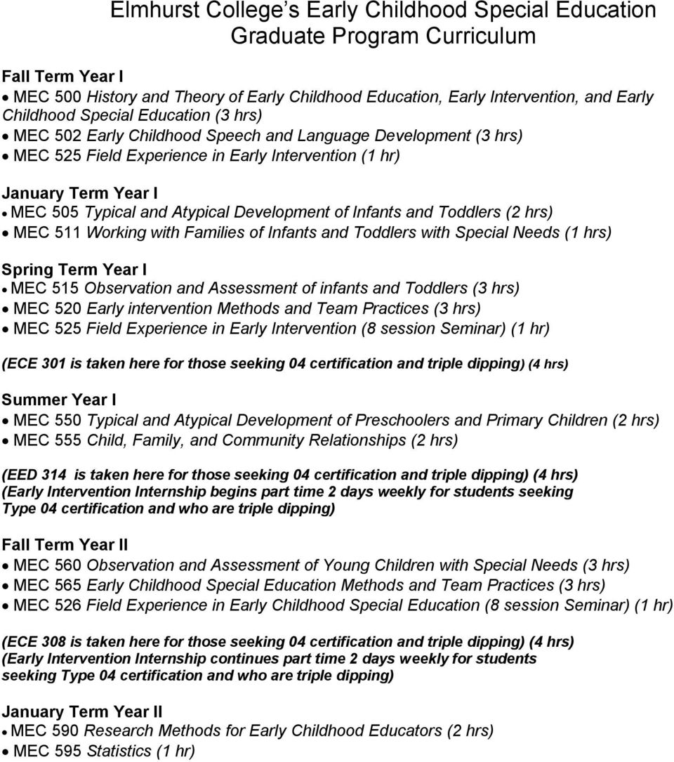 Development of Infants and Toddlers (2 hrs) MEC 511 Working with Families of Infants and Toddlers with Special Needs (1 hrs) Spring Term Year I MEC 515 Observation and Assessment of infants and