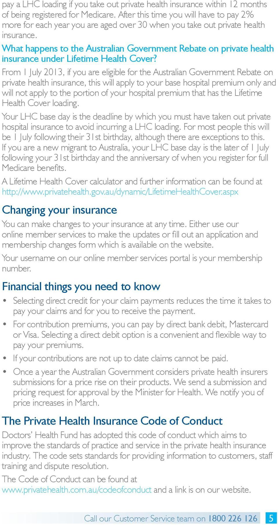 What happens to the Australian Government Rebate on private health insurance under Lifetime Health Cover?