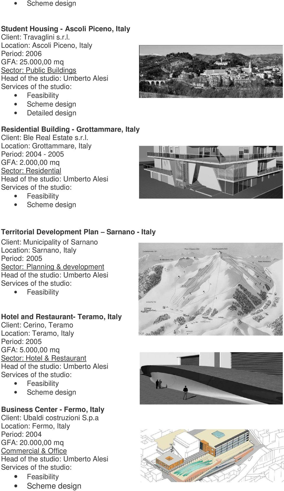 000,00 mq Sector: Residential Territorial Development Plan Sarnano - Italy Client: Municipality of Sarnano Location: Sarnano, Italy Period: 2005 Sector: Planning & development