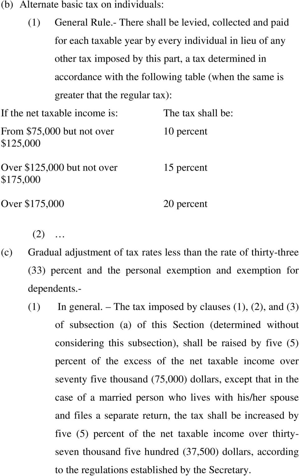 same is greater that the regular tax): If the net taxable income is: The tax shall be: From $75,000 but not over 10 percent $125,000 Over $125,000 but not over $175,000 Over $175,000 15 percent 20